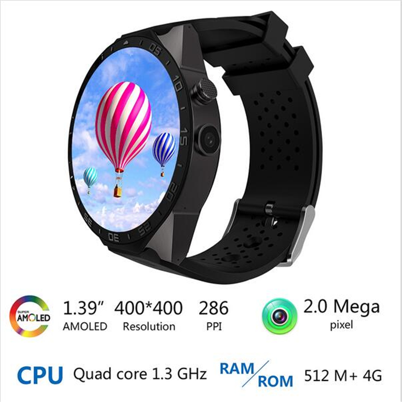 US $77 94 35% OFF|KINGWEAR Smart Watch KW88 MTK6580 Quad Core 1 3GHZ  Android 5 1 3G Smart Watch 1 39inch 400mAh 2 0 Mega Pixel Heart Rate  Monitor-in