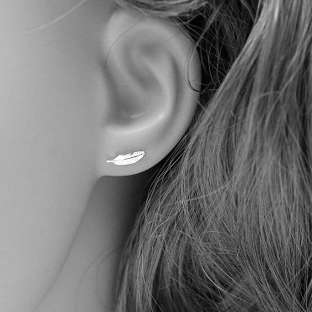 Korean Style Earrings Cute Mini Small Feather  Brincos For Women Birthday Gifts