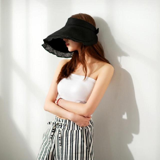 BooLawDee Women Summer foldable anti UV sun visor ruffles purple khaki gray black navy beige H51001