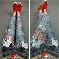 Бойфренд джинсы для женщин 2016 отверстия рваные джинсы старинные блестками стиль тощие джинсы стрейч дамы проблемных джинсы B116