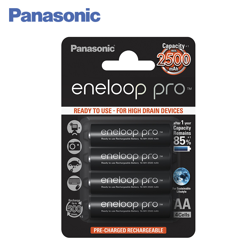 Panasonic BK-3HCDE/4BE Rechargeable Batteries eneloop pro 2500mAh AA 2pcs lot new original 18650 3 6v 2500mah li lon rechargeable battery he4 max 20a 35a discharge batteries free shipping