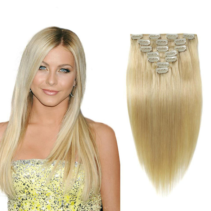 FullShine Brazilian Virgin Hair Straight 613 Blonde Grade 7A Clip Extention Full Head Remy Hair Clip
