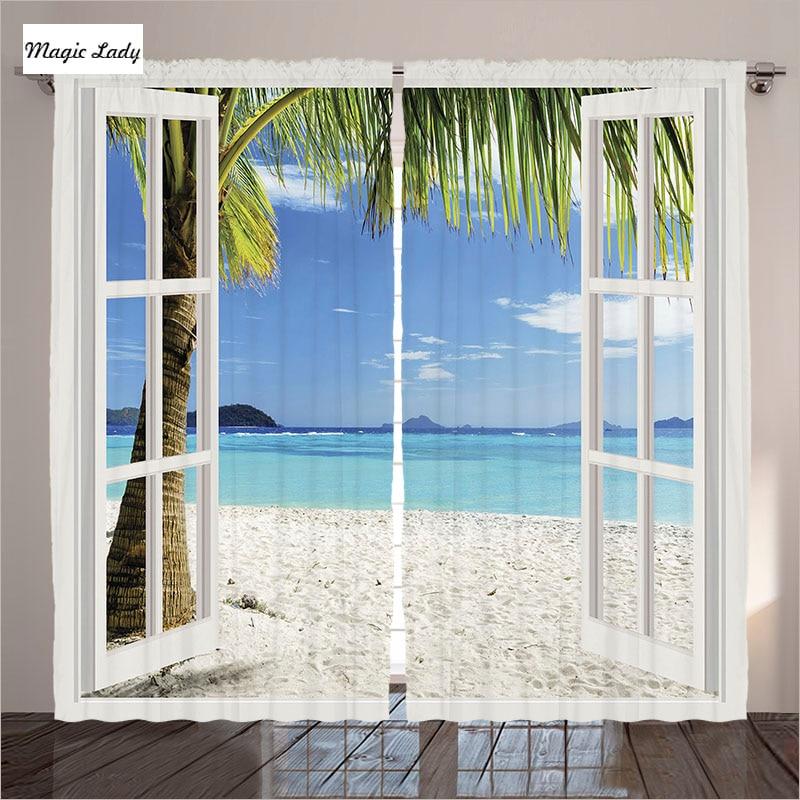 Curtains Photo Sea Beach Window Style Art Drawing Original