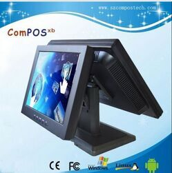 Double touch pos system all in one PC super cheap supermarket checkout terminal 15 inches and 12 inches in fashion pos machine free shipping pos software cheap touch