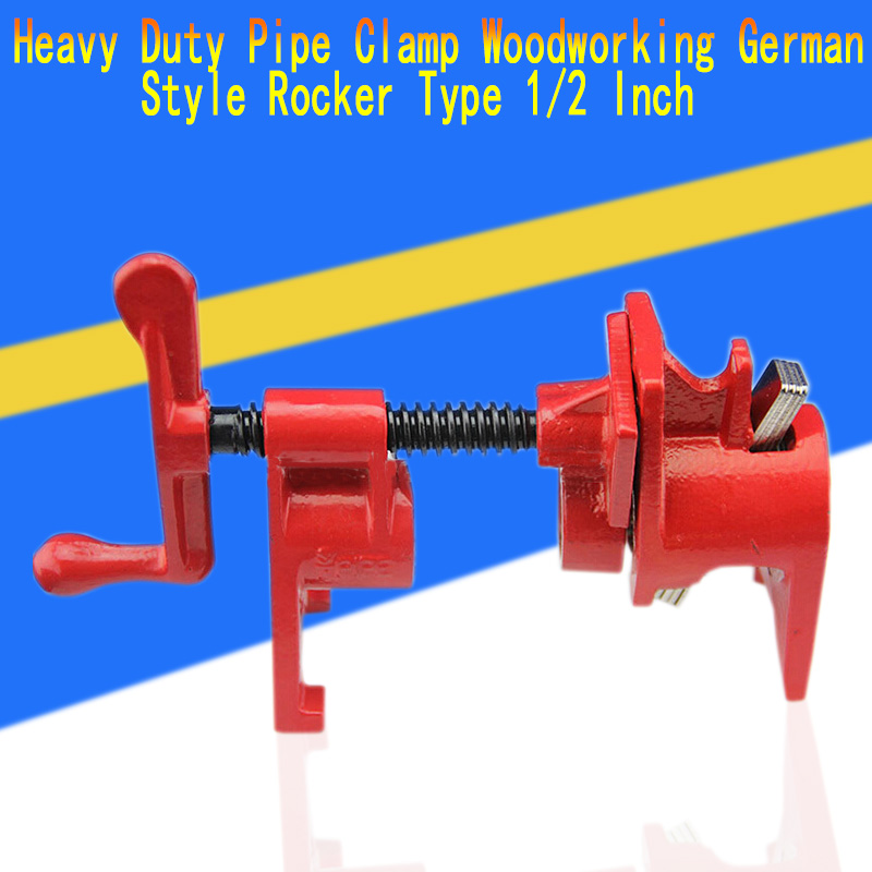 Heavy Duty Pipe Clamp Woodworking German Style Rocker Type 1/2 Inch Pipe Clamp Fixture Carpenter Woodworking Tools carpenter s c clamp fixed fixture clip forged steel rocker clamp woodworking tools