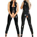 Mujeres Sexy Abertura entre las piernas de PVC de Látex Fetiche Catsuit de Cuero de Imitación Del Mono Juego de Adultos Erótica DS Pole Dance Clubwear