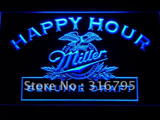 613 Miller Beer Happy Hour Bar Pub LED Neon Sign with On/Off Switch 7 Colors to choose