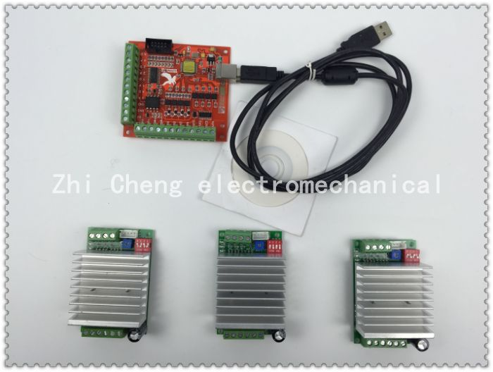 CNC mach3 usb 3 Axis Kit, 3pcs TB6600 1 Axis Stepper Motor Driver + mach3 4 Axis USB CNC Stepper Motor Controller card 100KHz free shipping high quality 4 axis tb6560 cnc stepper motor driver controller board 12 36v 1 5 3a mach3 cnc 12