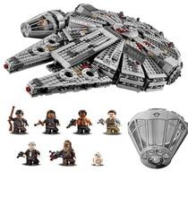 1381PCS Star Wars Force Awakens Han Solo Millennium Falcon Building Kit Minifigures Kids Toy Compatible with Legoe 75105