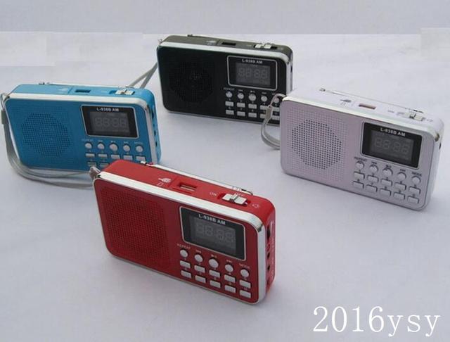 Frete grátis por Fedex / DHL / UPS L-938BAM mini portátil FM AM rádio com mp3 player LED apoio TF cartão micro SD e USB