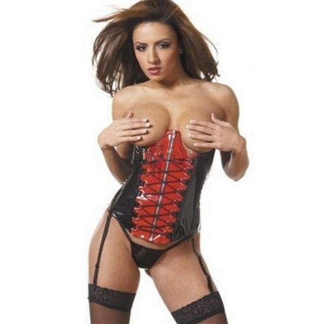 Sexy lingerie Faux Leather Corsets Red PU Bustiers Black Lace Up Underbust Adult Club Wear Corsets Waist Trainer