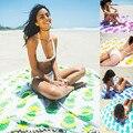 4 cores Novo Verão Grande 100% Algodão Impresso Toalhas de Praia Rodada praia Cover Up para adulto Biquíni Boho Guardanapo De Plage Toalla