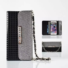 Luxury Flip Wallet Leather Bag Phone Case Bling Diamond Card Slot Handbag Chain Cover Fundas Coque for Samsung Galaxy S7 S7 edge