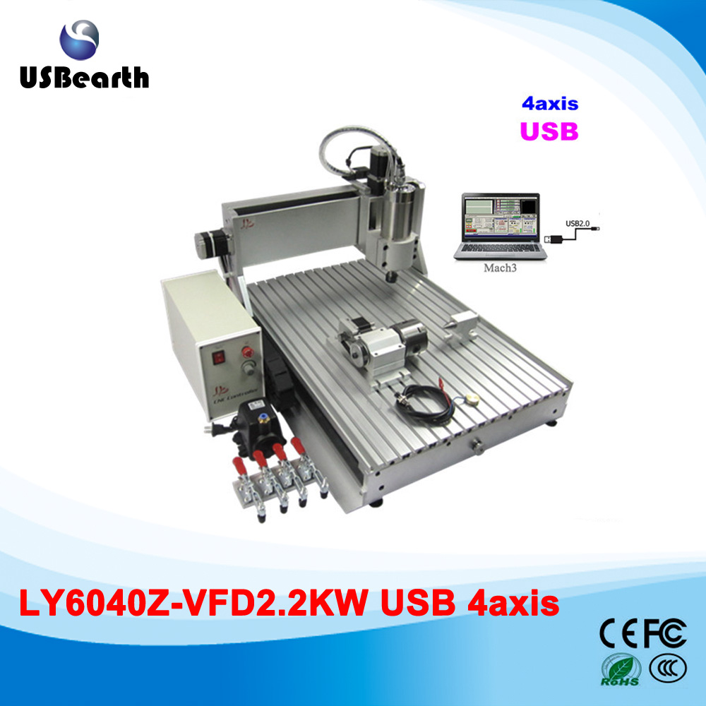6040Z-VFD 2.2KW USB 4axis 6040 CNC milling machine mini cnc router with USB port, Russia free tax russia tax free 3d woodworking cnc router cnc 6040 4 axis cnc milling machine with spindle 500w