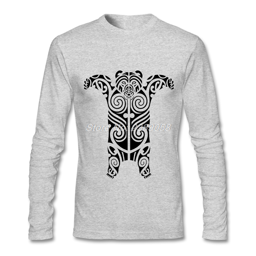 2017 Fashion Print Men t shirt Long Sleeve Tribal Bear Luxury Shirts O-Neck Low Price Men's T-shirt