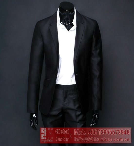 2012 hot selling new fashion slim men's suits Matte Black coat  ...