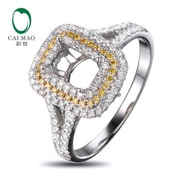 Anillo de compromiso de diamante Natural de oro blanco de 18 quilates, anillo de compromiso, anillo de semimontaje de joyería, 4x6mm, corte esmeralda