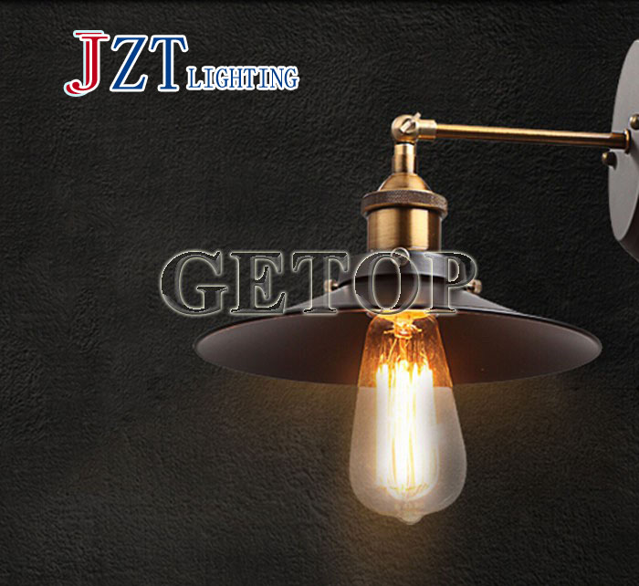 ФОТО T American Country Style Iron Pipe LED Lamp  Vintage Wall Lamp Diameter 22cm 110V/220V E27