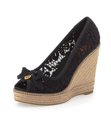 7f468759a00 Black Lace Wedges High Heel Women Pumps Thick Platform Peep Toe Bow Knot  Rope Wedge Heels Slip on Ladies Shoes Comfortable Pump-in Women s Pumps  from Shoes ...