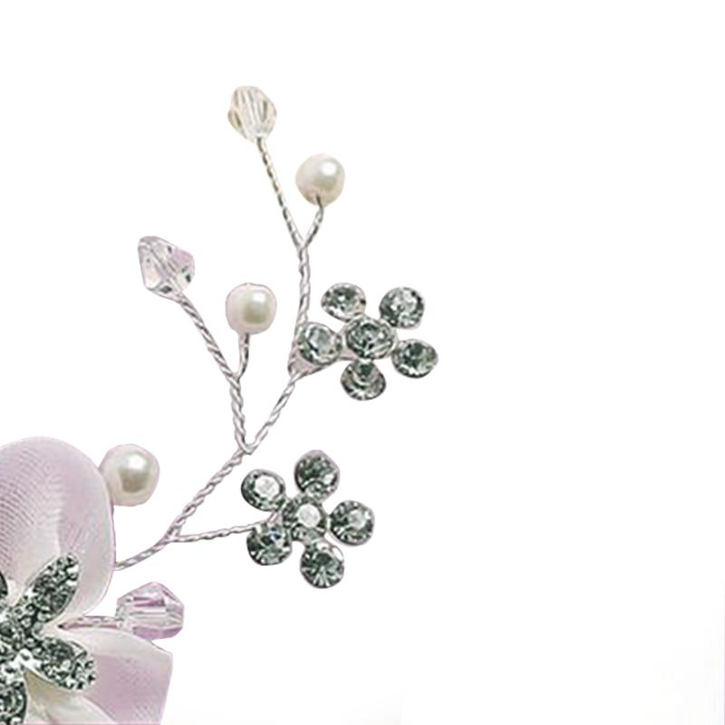 Nueva moda novia joyería de la boda Rhinestone blanco flor del pelo peine pelo d