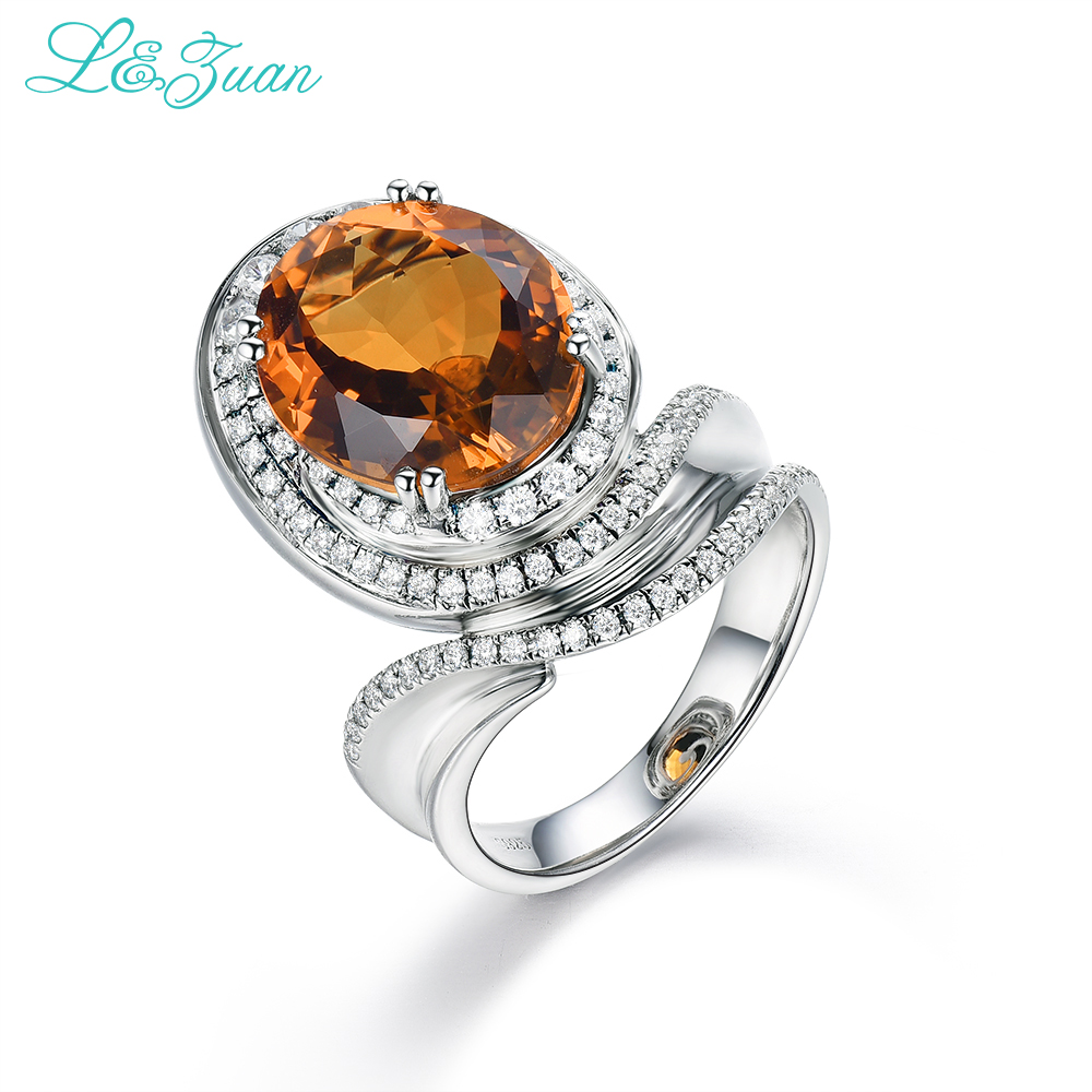 Halka Fine Jewelry 925Sterling Silver Natural Citrine Yellow Stone Prong Setting Ring Jewelry For Gift Black Friday Bijoux bien