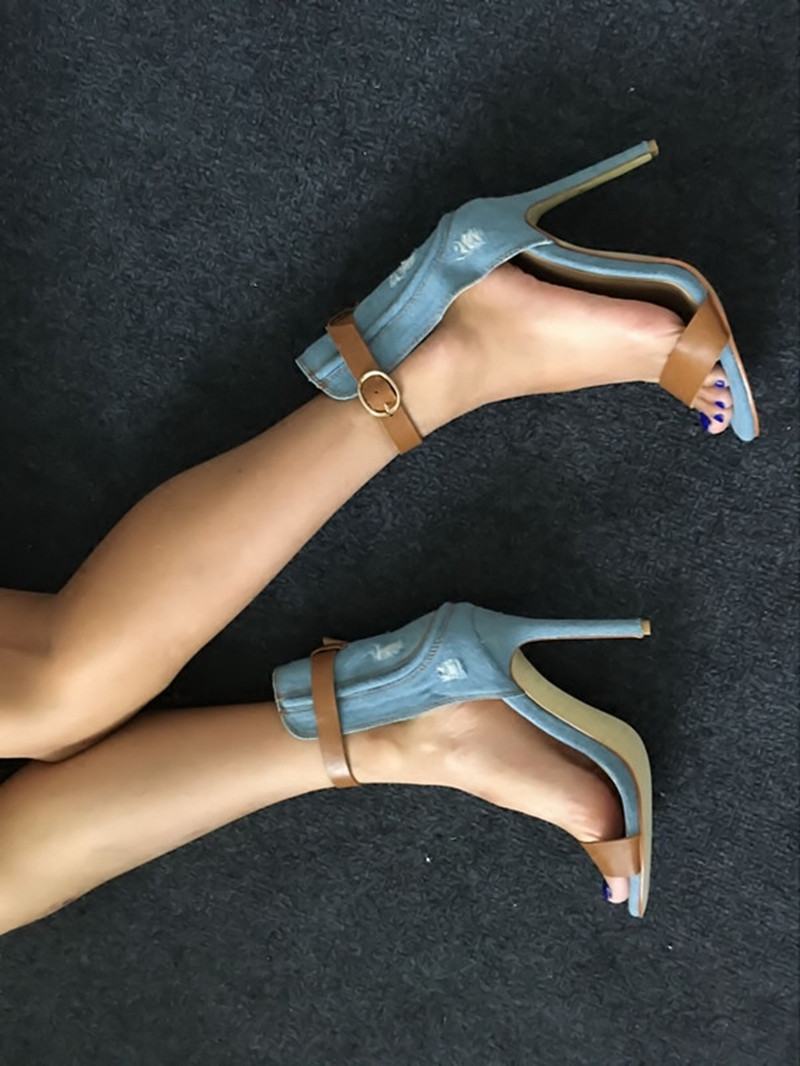 New Fashion Summer Sexy Denim Thin High heels Sandals Women Open Toe Ankle Strap Walking Ladies Sandals Sandalias Mujer 34-43 new 2016 sexy gladiator ankle straps high heels fashion brand women sandal summer mixed colors open toe sandalias big size 34 43