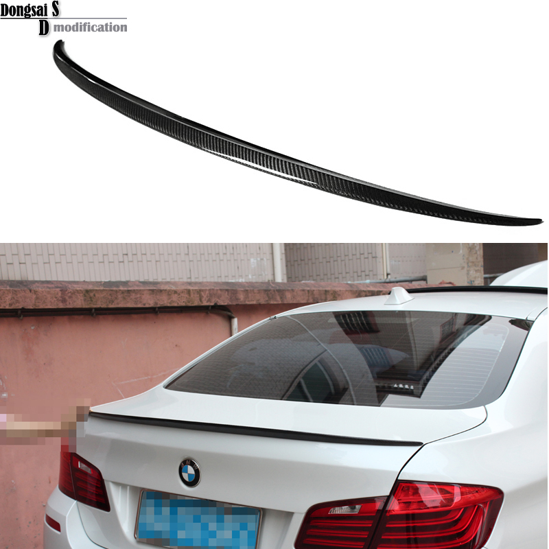Carbon fiber M - style M5 look trunk lip carbon fiber spoiler wings for BMW 5 series F10 sedan 2010 + 520i 523i 528i 535i 550i carbon fiber nism style hood lip bonnet lip attachement valance accessories parts for nissan skyline r32 gtr gts