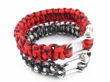 300 pcs Self-rescue Adjustable Paracord Survival Bracelet 7 Strand Handmade Weave Parachute W/ Cord Shackle Buckle Bracelets