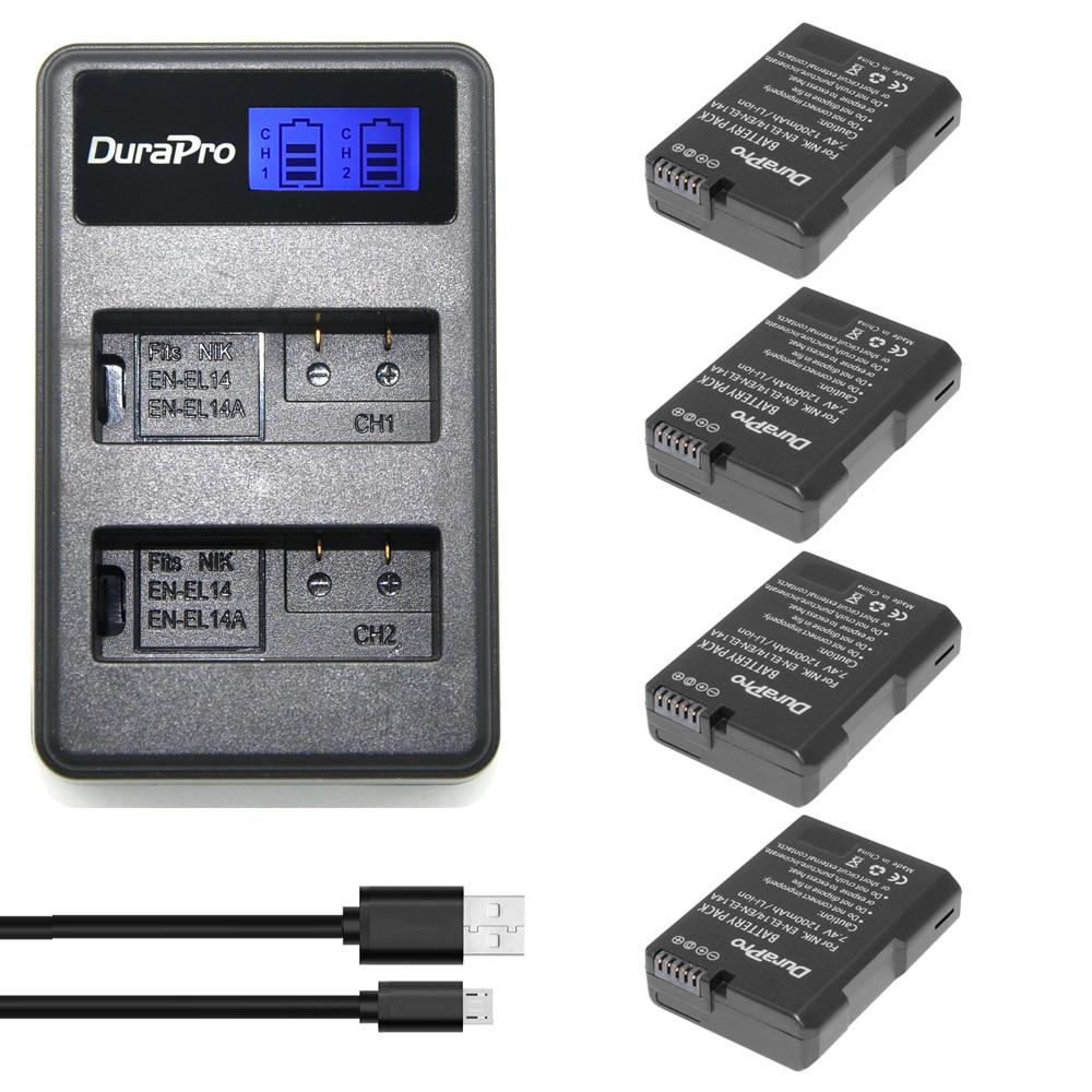 4x ENEL14 EN EL14 EN-EL14A batterie & LCD Double Chargeur Pour Nikon D5200 D5600 D5500 D3100 D3200 D3400 D5100 P7000 P7100 P7800 P7700