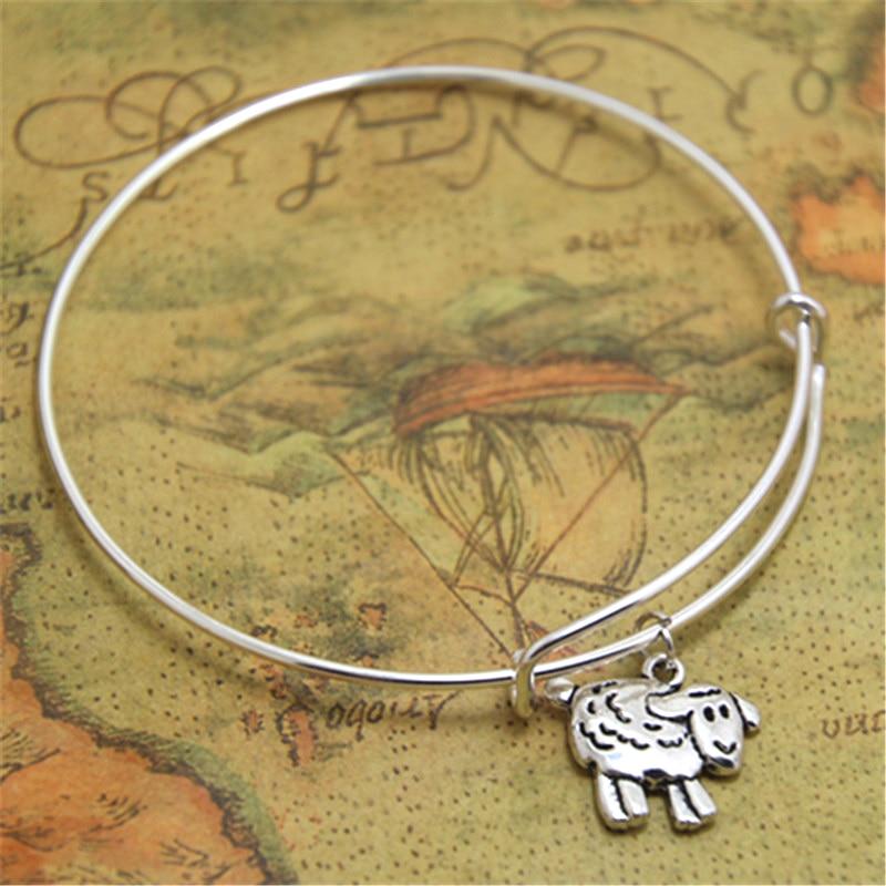 Sheep Mom Charm Bracelet Stainless Steel Expandable Bangle Farmer Gift Livestock Lamb Jewelry