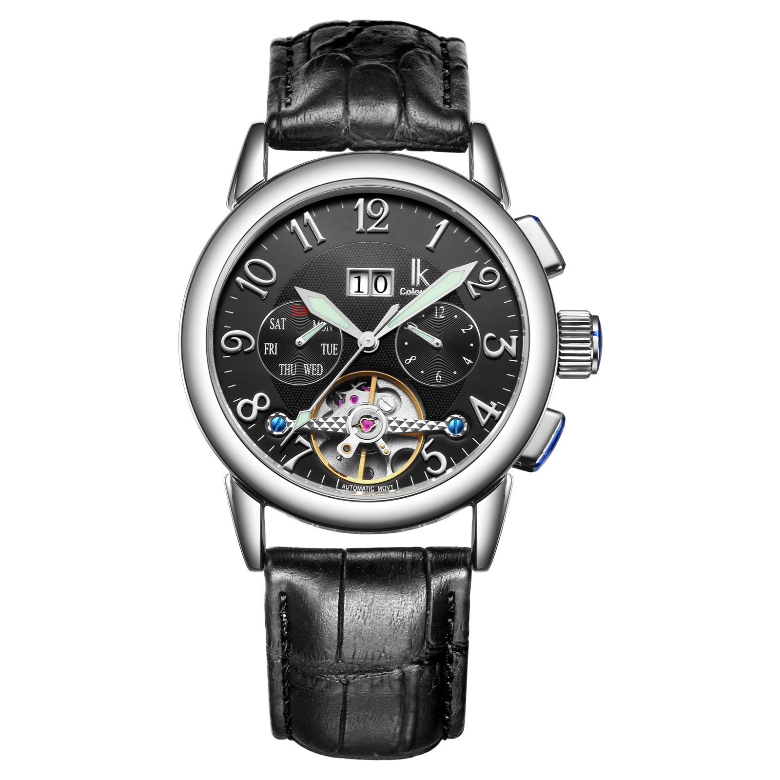 IK Luxury Men Watch Automatic Mechanical Watches Week Day Date Genuine Leather Strap Skeleton Watch Sport Military reloje hombre ik brand luxury automatic mechanical watches men sub dial function date 24 hours display genuine leather skeleton watch relojes
