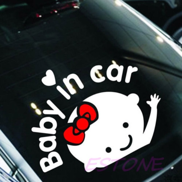 Baby in car cute waving baby on board safety sign auto car decal