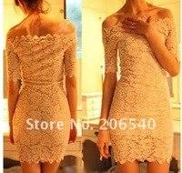 платье кружево без бретелек короткая, сексуальный элегантный женщины в off-плечи рукав клуб