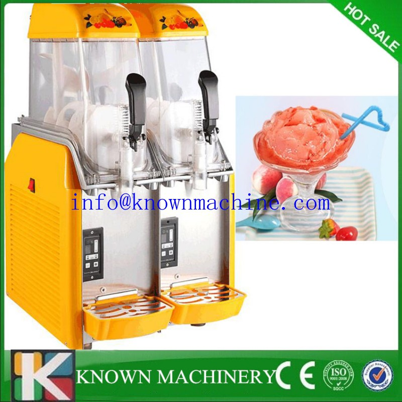 Newest design 2 tanks electric CE approved commercial ice slush machine for sale/slush machine/slush maker duoble heads juice dispenser slush machine 15l 2
