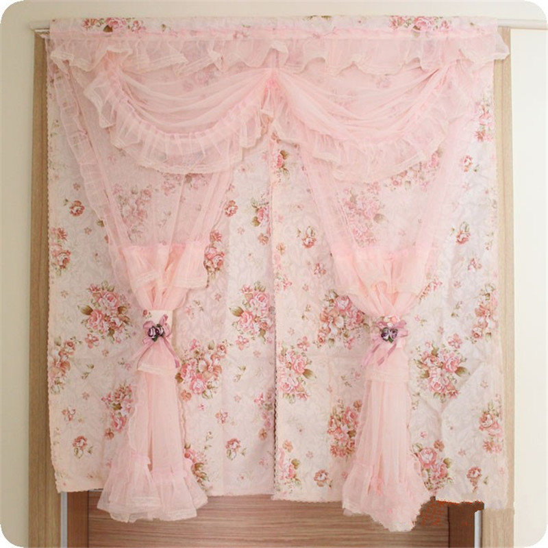 Romantic Lace Door Curtain For Kitchen Bedroom New Floral Print Door Curtains 90 150 180cm Long