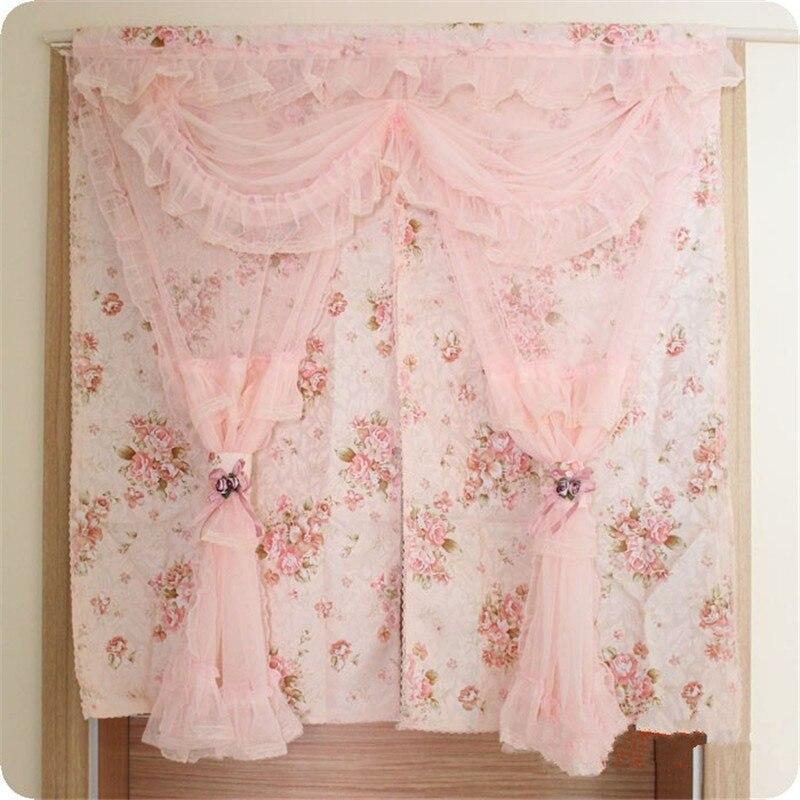 puerta romntico de encaje cortina para cocina dormitorio nueva impresin floral cortinas para puertas
