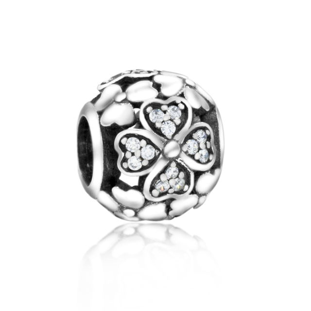 Clear Crystal 100% 925 Sterling Silver Lucky Four Leaf Clover Heart Charm Beads Fits Pandora European Charms Bracelet M
