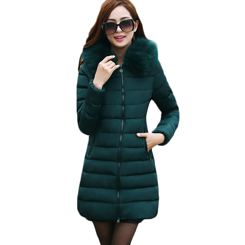 Large Size Down Padded Hooded Jacket Coat Women 2016 Winter Long Slim Thick Cotton Padded Jacket