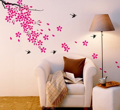 Superbe Beautiful Sping Flowers With Cute Birds 70*50cm Wall Decor Wall Sticker 2  SETS