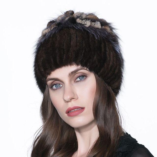 LTGFURWarm winter fur hat mink hat with real fox fur ball knitted Skullies2016 abundant female fur headdress hat hat