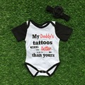 baby girls romper infant toddler girls romper my daddy's tattoos are better than yours romper with  headband