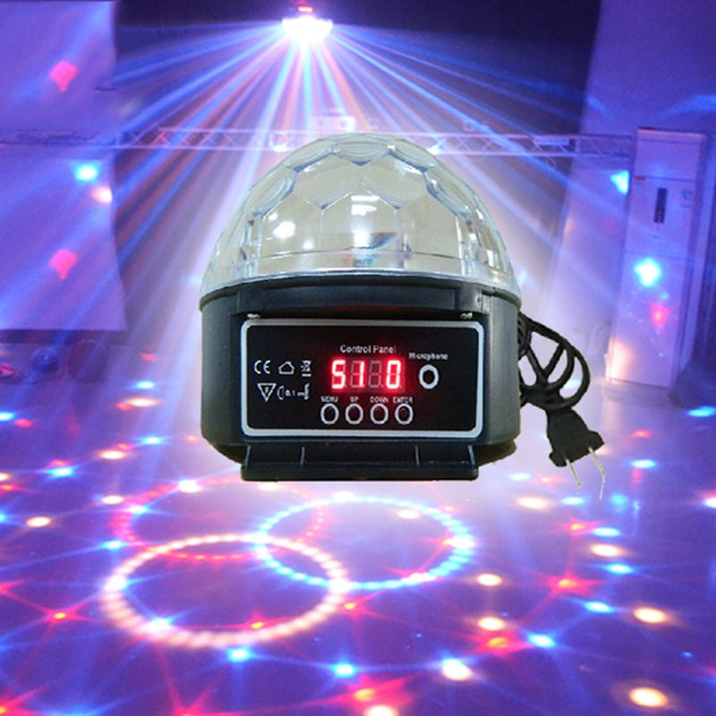 ФОТО 9 Colors 27W Crystal Magic Ball Led Stage Lamp 21Modes Disco Laser Light Party Lights Sound Control Christmas Laser Projector