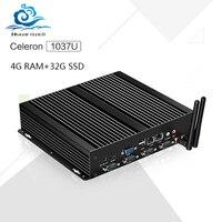 חם על מכירה תעשייתי מחשב Barebone מיני C1037U Celeron הכפול LAN 4 גרם זיכרון RAM 32 גרם SSD משחקי מחשב עם מקרה מתכת שחורה Windows XP, win7