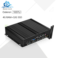 Hot on sale Industrial   Barebone Mini PC C1037U Celeron Dual LAN 4G RAM 32G SSD PC Games With black metal case Windows XP, win7