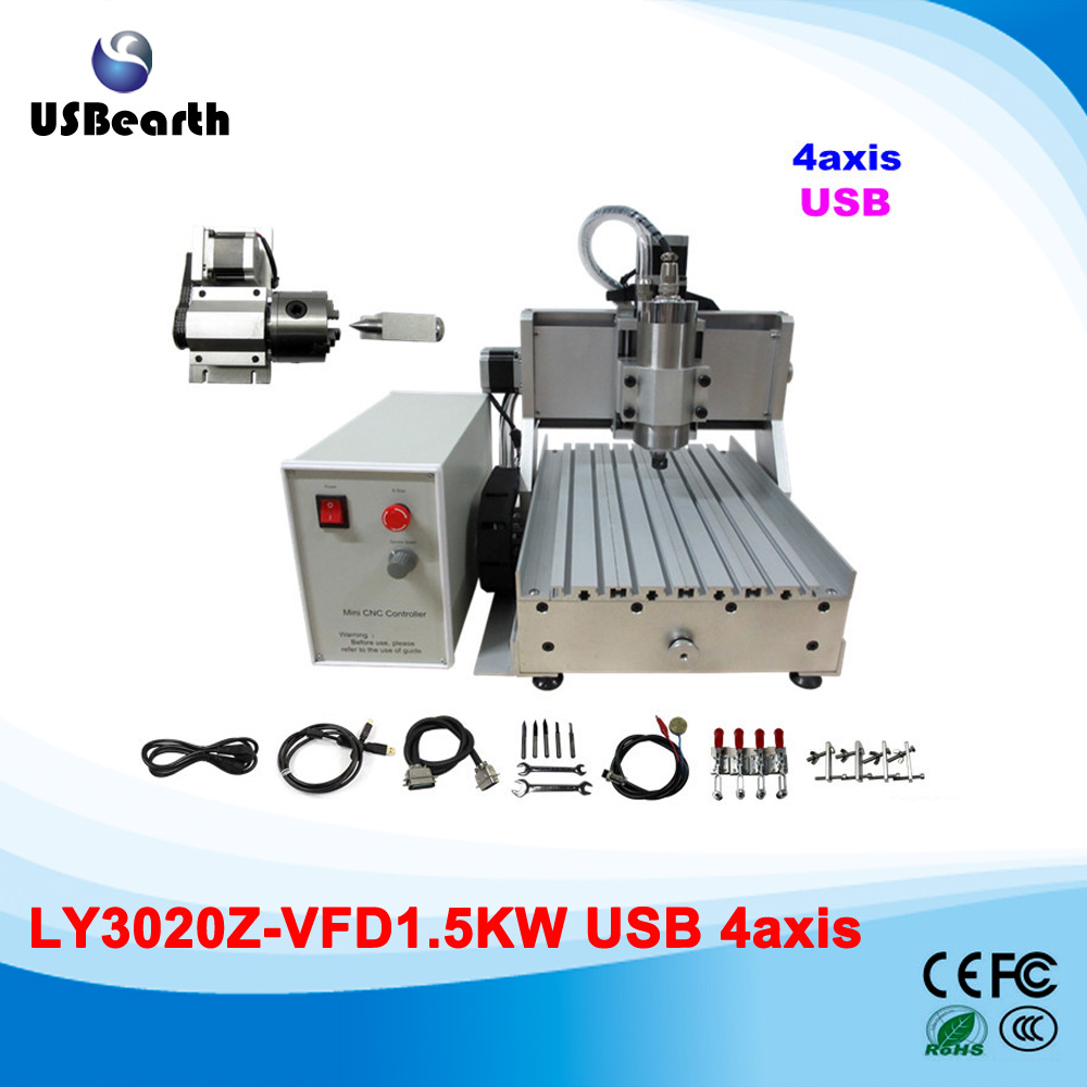 LY 3020Z-VFD1.5KW USB 4 axis drilling machine mini CNC 3020 router USB port ship to Russia free tax 3 axis cnc router 3020z d usb port cnc 3020 machine with 500w spindle power