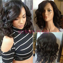 2016 New Arrival Short Human Hair Wigs For African Americans Natural Color Full Lace bob Wig Silky Straight Lace Front Wig Stock