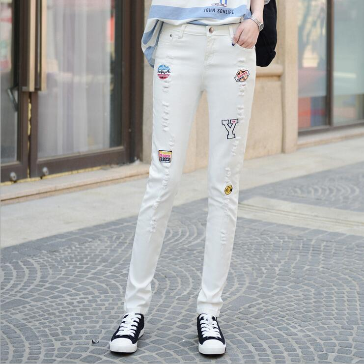 #3230 White jeans women Fashion Jeans with embroidery Fashion Korean Slim Skinny Destroyed women Harajuku ripped jeans for women