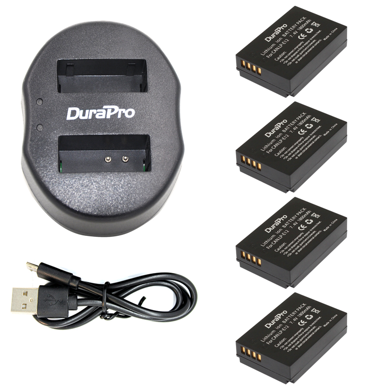 4 Pcs <font><b>LP</b></font>-<font><b>E12</b></font> LPE12 <font><b>LP</b></font> <font><b>E12</b></font> <font><b>Batteries</b></font> + USB Dual Charger For Canon M 100D Kiss X7 Rebel SL1 EOS M10 DSLR Camera image