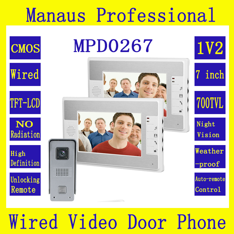 7 inch Color LED Display Video Door Phone System 1V2 Multi-language 1 HD Camera 2 Monitors Night Vision Video Intercom Kit D267b