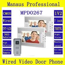 7 дюймов цвет из светодиодов видео-телефон двери 1V2 многоязычным 1 HD Camera 2 мониторы ночного видения видеодомофон комплект D267b